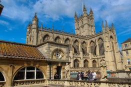 View of the Bath Abbey from the Roman Baths