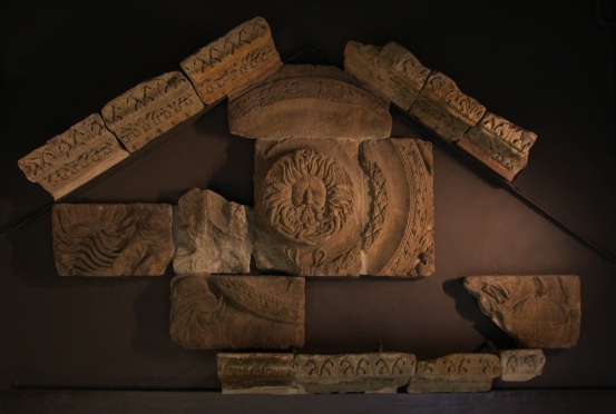 Carved blocks from the pediment of the Temple of Minerva